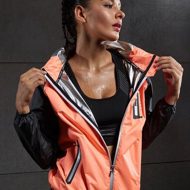 Hot Sweat Women Yoga Shirts Quick-drying Sport Zipper Jackets Long Sleeve Fitness Running Tops Training Hooded Coat Sportswear - yogastoreefw
