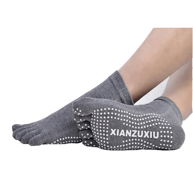 4Pairs/Lot Men's Massage Yoga Socks Cotton Socks Breathable Non-slip Health Care 5 Toe Socks Deodorant Socks - yogastoreefw