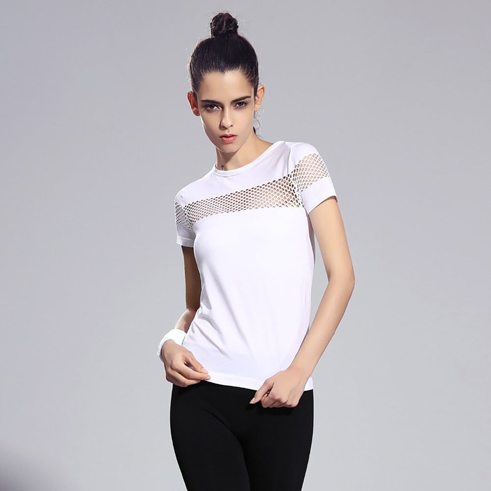 FLANDIS Mesh Sexy shirt with short sleeves Yoga Sporty top Fitness jersey female 2018 Top grid Sportwear Wholesale - yogastoreefw