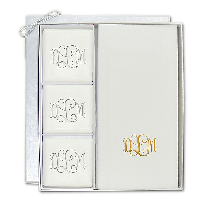 Monogrammed Soap and Linen Like Towel Gift Set