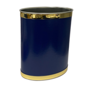Navy Faux Leather Oval Wastebasket
