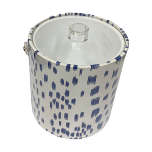 Brunschwig & Fils Les Touches Blue Fabric Ice Bucket with Acrylic Handle and Lid