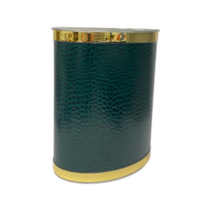 Emerald Green Faux Croc Oval Wastebasket