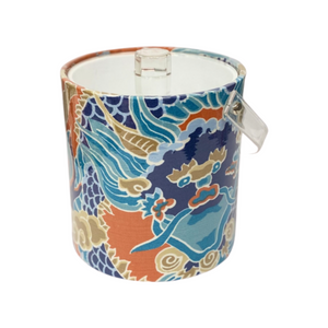 Imperial Dragon Fabric Ice Bucket with Acrylic Handle and Lid