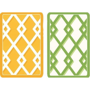 Yellow White Green White Trellis Design Playing Cards