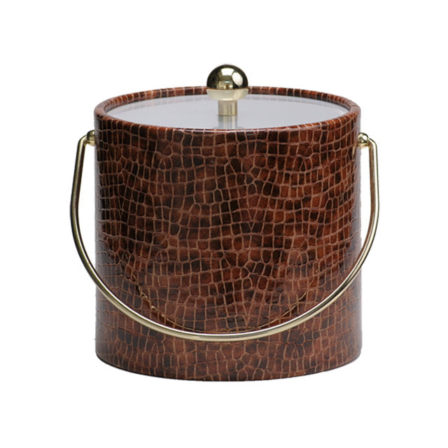Bring style and sophistication to your bar with this mahogany faux croc skin 3 quart ice bucket!