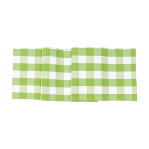 Green and White Gingham Check Table Runner