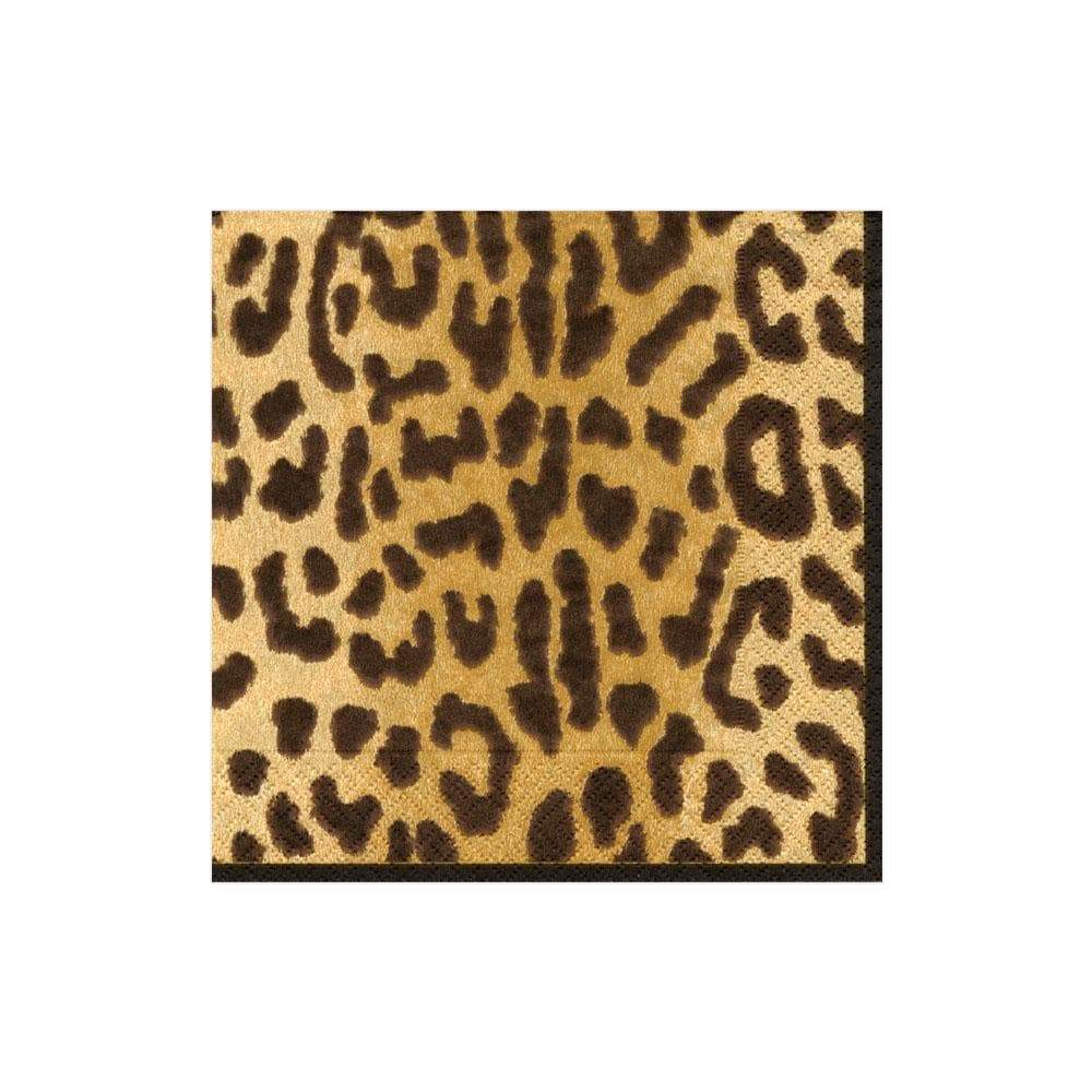 "Leopard Print Paper Cocktail Napkin 5"" x 5"" - Package of 20"