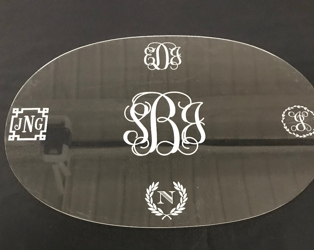 These stylish and durable acrylic placemats let your table or table cloth shine through! Choose a laser engraved monogram style and add a frame such as laurel leaves, greek key or antlers too! So may personalization possibilities!