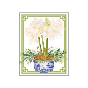 Potted Amaryllis Gift Enclosure Cards in Gold Foil - 4 Mini Cards & 4 Envelopes