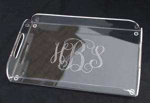 clear acrylic Lucite monogrammed personalized butlers large tray with handles shower gift wedding gift housewarming gift