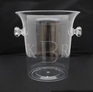 clear acrylic lucite monogrammed personalized wine champagne ice bucket chiller cooler barware accessory shower gift wedding gift housewarming gift