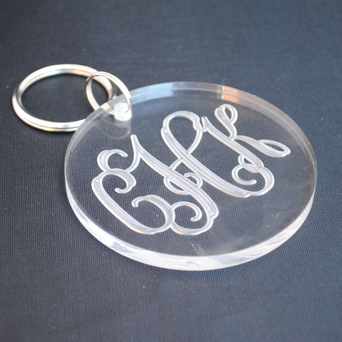Round Acrylic Monogrammed Key Chain