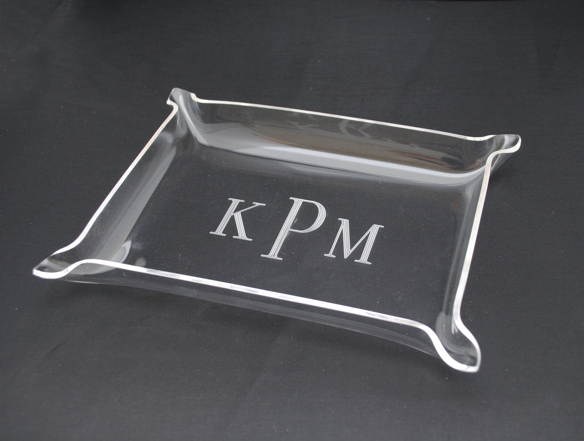 Small Acrylic Monogrammed Pinched Edge Nesting Tray - Laser Engraved