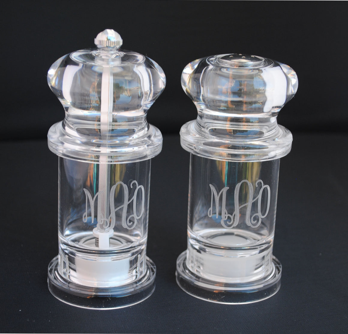 Monogrammed Personalized Clear Acrylic Lucite Salt and Pepper shaker grinder Set shower gift house warming gift hostess gift