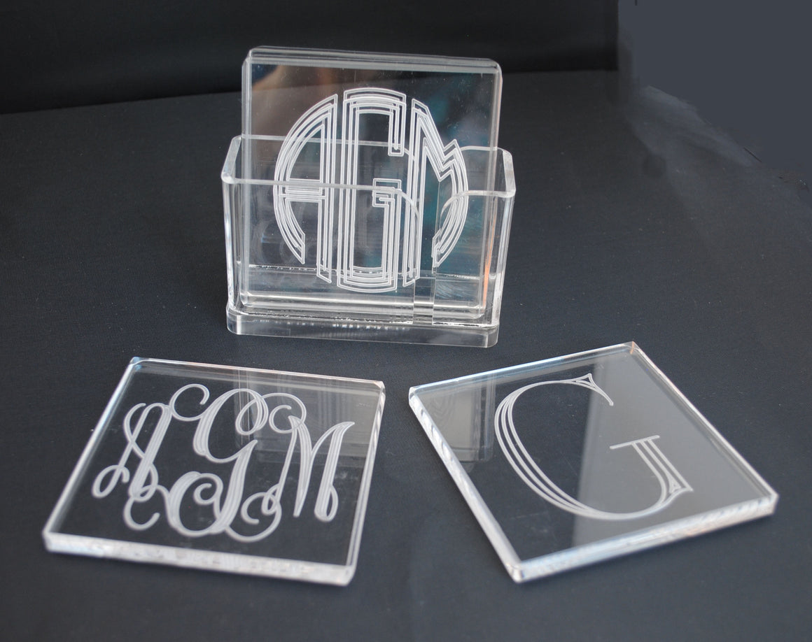 Square Acrylic Monogrammed Coasters with Holder