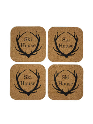 Square Cork Antler Ski House Coasters