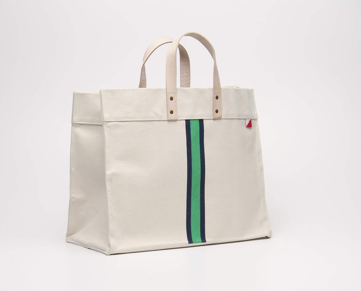 Blue and Green Striped Canvas Box Tote with Leather Handles