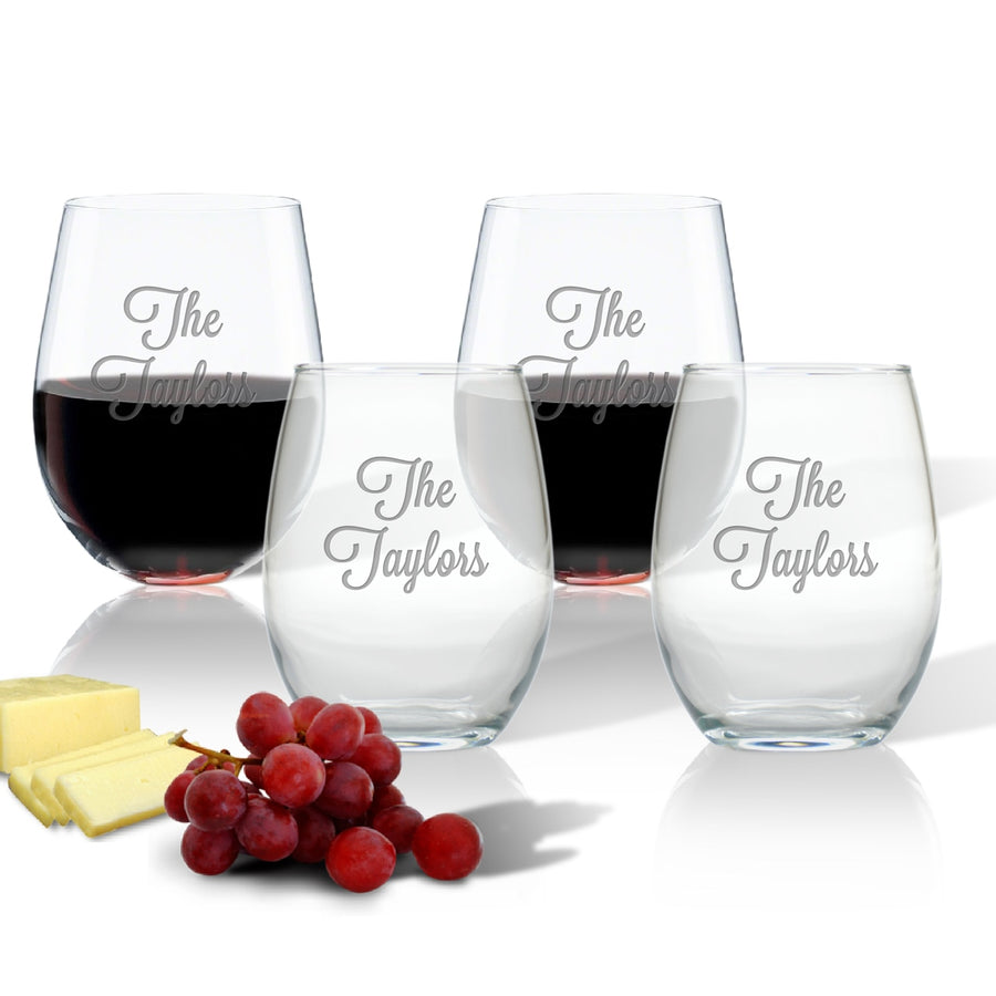 Personalized Stemless Wine Glasses - Set of 4