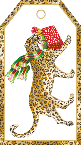 Leopards In Snow with Gold Foil Accents Hanging Gift Tags.