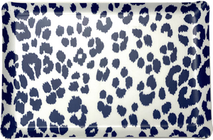 F. Schumacher Iconic Leopard Fabric in Ink Laminated Fabric Melamine Tray