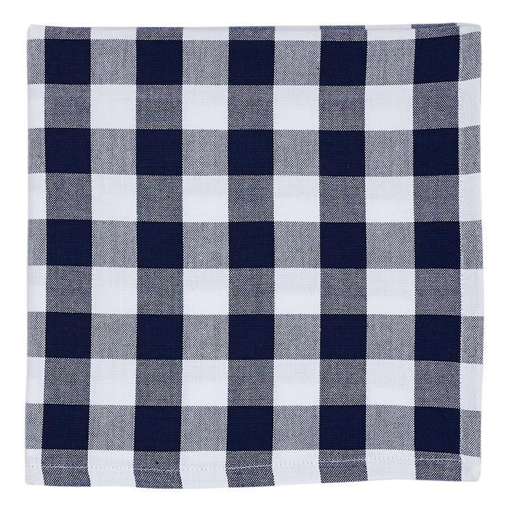 Set of 4 Navy Blue and White Gingham Check Napkins, Buffalo Check