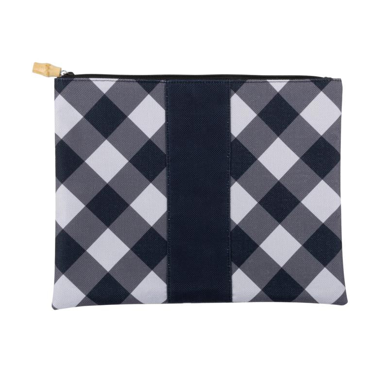 "This cute black and white check pouch makes the perfect oversized clutch for any occasion! Features all-over pattern with a solid stripe down the center that's perfect for monogramming! Comes in four classic Southern patterns with bamboo zipper pulls for an added touch of style! Polyester Blend 13.5"" W x 10.75"" H Zip Closure with Bamboo Zipper Pull"