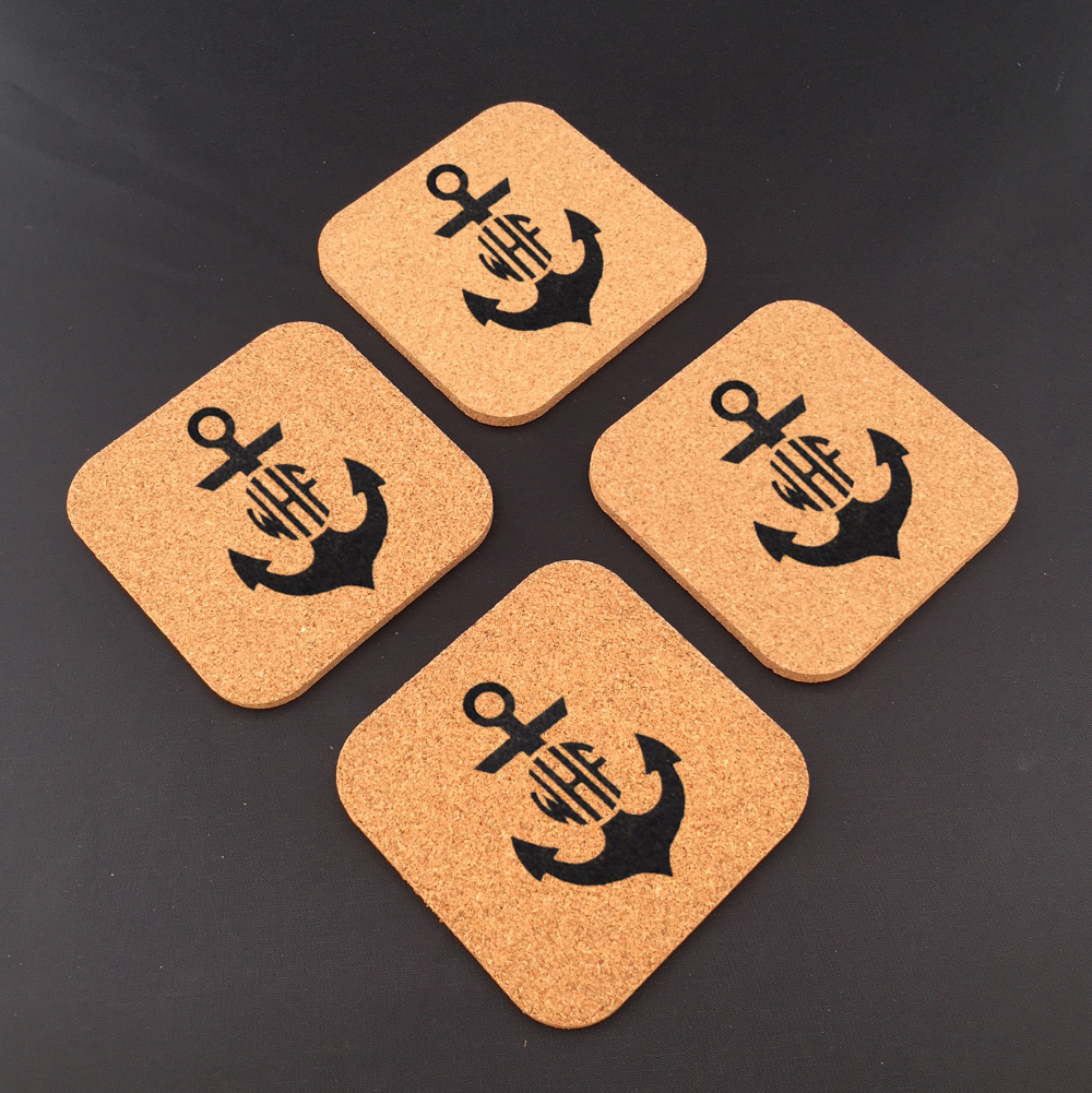 Monogrammed Square Cork Coasters