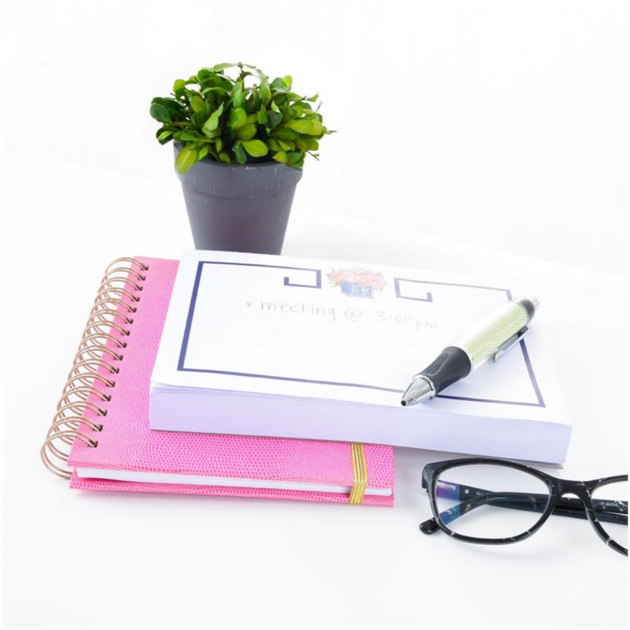 Topiary Note Pad and Faux Lizard Pen Desk Set