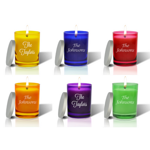 Colorful Monogrammed Candle with Lid