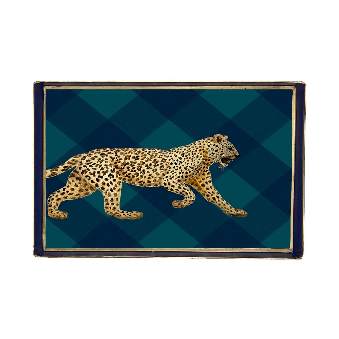 Sussex Plaid Leopard Enameled Oliver Tray 10x12