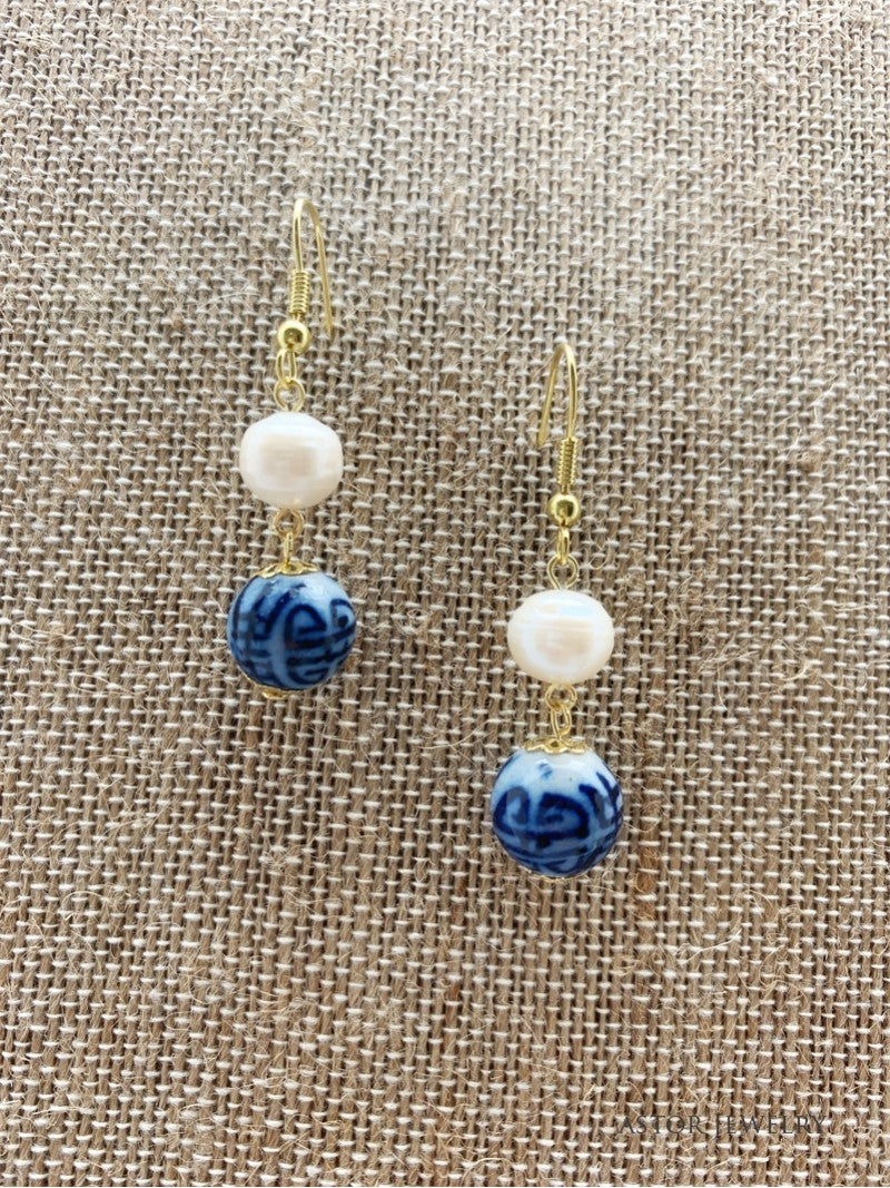 Fresh Water Pearl Earrings with Blue and White Bead