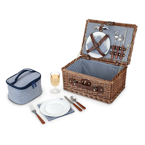 Woven Picnic Basket complete with two place settings wine glasses napkins corkscrew and mini cooler Blue and White strip interior