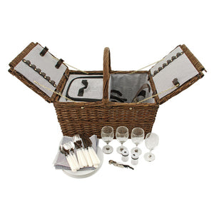 Enjoy refined al fresco dining with our woven Wicker Picnic Basket. Two insulated compartments keep your picnic fare a perfect temperature while the sturdy handle makes it easy to carry. Set includes basket, white Truetap corkscrew, salt and pepper shakers set, and 4 each of silverware, plates, wine glasses, and cotton napkins. Accommodates 1 standard wine bottle and food. Basket measures 18 x 13 x 16.5 Spot Clean Only.Makes a great gift.