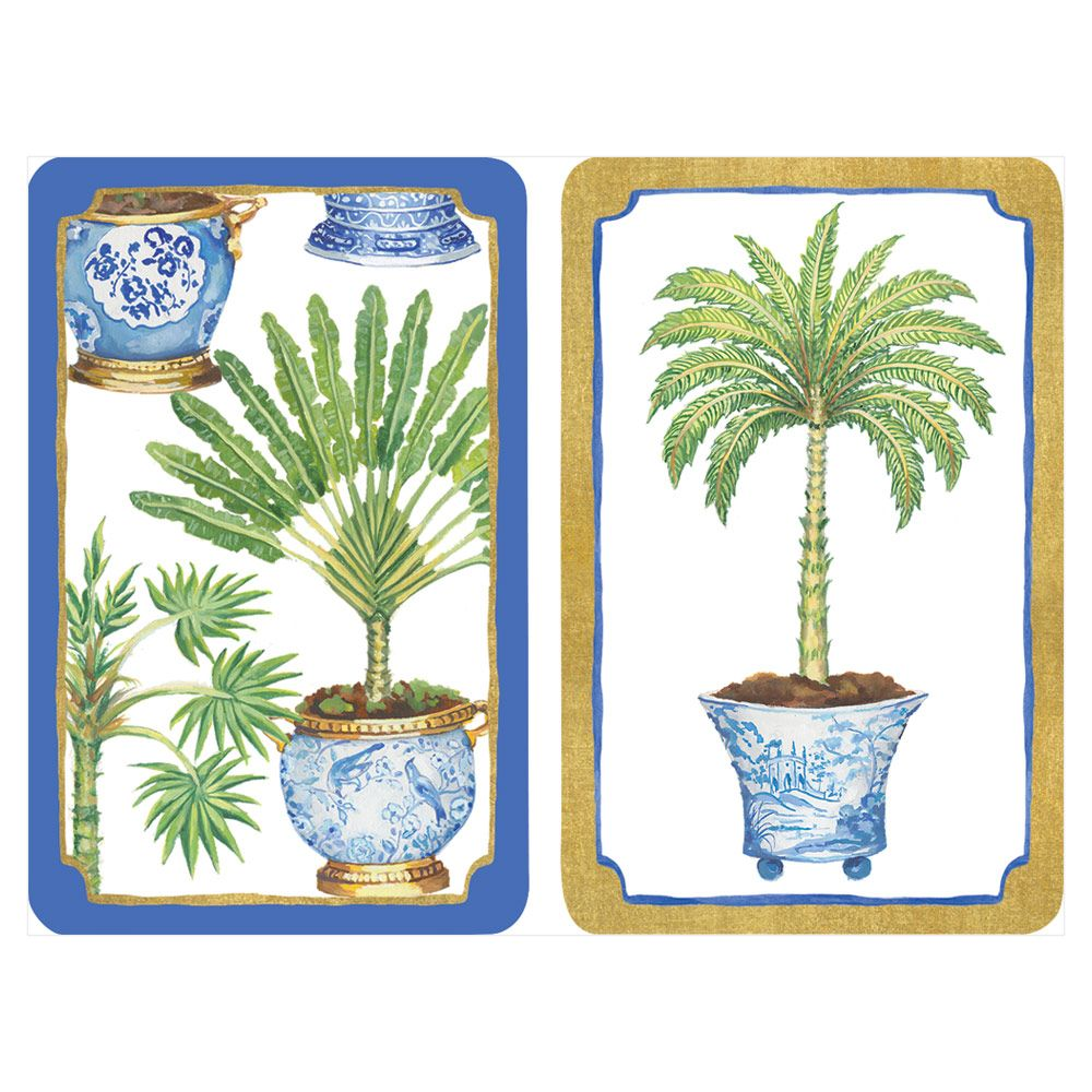 Potted palms in blue and white porcelain large type placing cards set of 2 decks