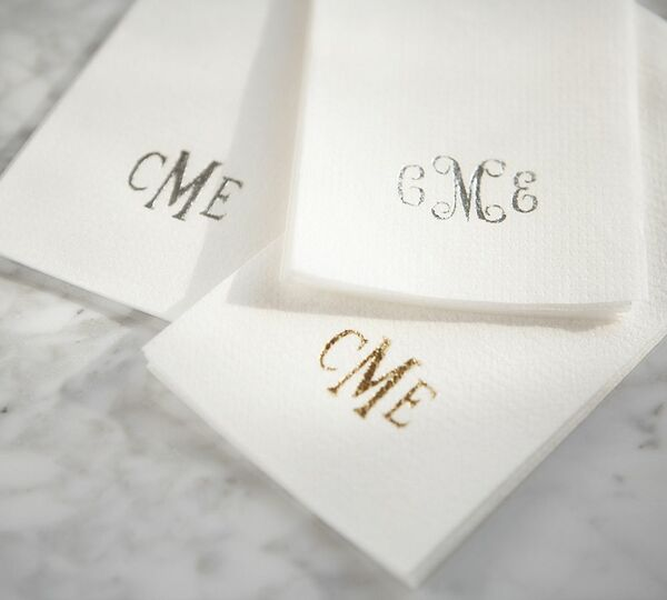 Monogrammed Linen-Like Disposable Guest Towels - 50