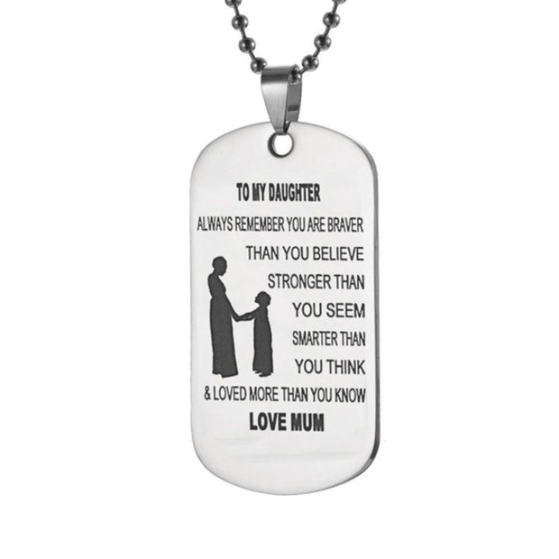 Mom To Daughter - Customized Stainless Steel Dog Tag Necklace
