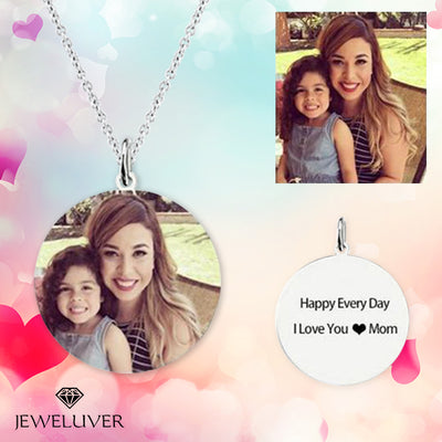 Personalized Full-Color Mom & Kid Engravable Photo Necklace