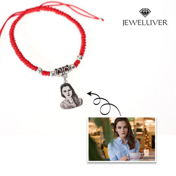 Custom Photo Bracelet in Red/Black Braided String