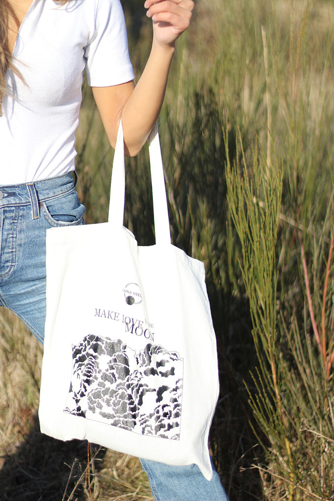 'Make Love To The Moon' Cotton Tote Bag