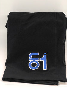 Black W/Blue Logo-4 Way Stretch Shorts