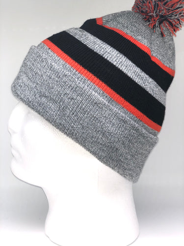 641K Heather, Black, Orange Winter Beanie