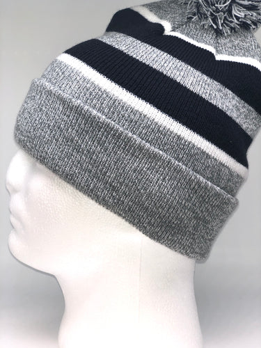 641K Heather, Navy, White Winter Beanie