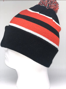 641K Black, White, Orange Winter Beanie