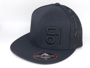 All Black 4D5 Flat Brim w/Black ON1 Logo