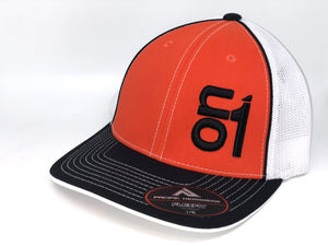 Black ON1 Logo- White Mesh/Orange Crown/Black Brim