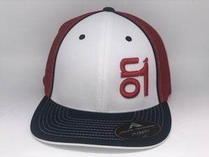RED ON1 Logo-Red Mesh/White Crown/Navy Brim