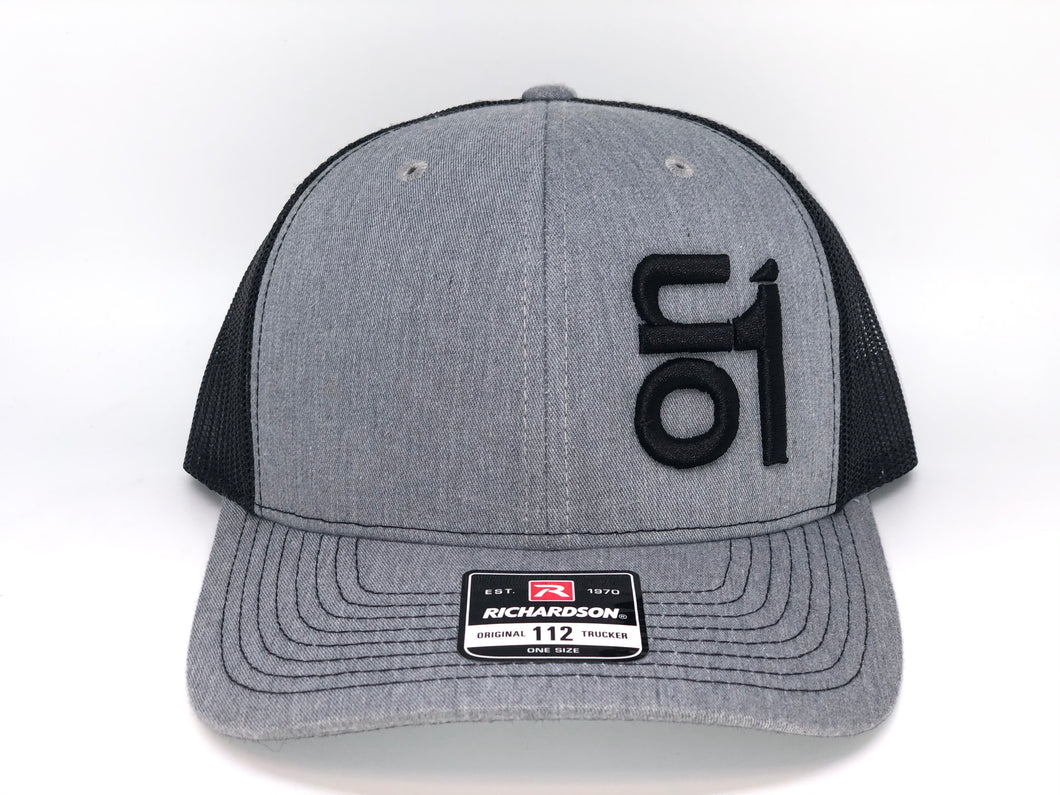 BLACK ON1 Logo-Richardson 112-Snapback-Black Mesh/Grey Crown/Grey Brim