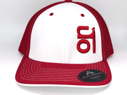 RED ON1 Logo- Red Mesh/White Crown/Red Brim