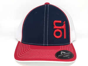 RED ON1 Logo- White Mesh/Navy Crown/Red Brim